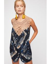 5b58f72edd6 Lyst - Free People Out In The Thunder Romper in Green