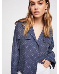 Free People - Kim's Silk Buttondown - Lyst