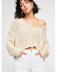 Free People - Beach Comber V-neck Jumper - Lyst
