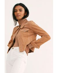 1d5f6faa3db Free People - Cropped Suede Trucker Jacket By Blank Nyc - Lyst