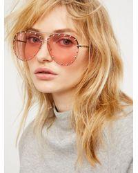 Free People - Star Struck Studded Aviator Sunglasses - Lyst