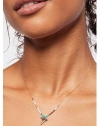 Free People - Accessories Designer Jewellery Raw Stone Beaded Charm Necklace - Lyst
