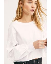 ecb68e8786477b Lyst - Free People Palisades Off-shoulder Thermal Top in Gray