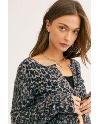 530b49685 Free People Womens Printed Kimono Wrap in Black - Lyst