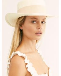 Free People Atlas Straw Boater - White