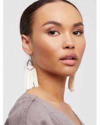Free People - Tahiti Stone Drop Leather Hoop Earrings - Lyst