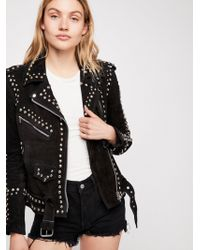 Free People - Studded Easy Rider Jacket - Lyst
