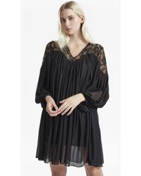 French Connection - Lassia Lace Jersey Tie Neck Dress - Lyst