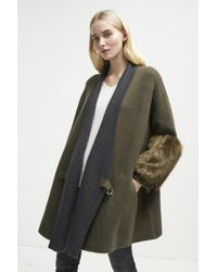French Connection - Elaine Faux Fur Knit Cardigan - Lyst