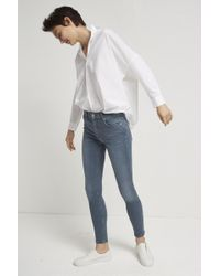 ad95d027902 Lyst - French Connection The Rebound Biker Stitch Jeans in Gray