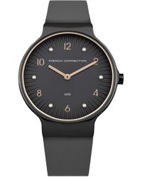 French Connection | Stone Face Leather Strap Watch | Lyst