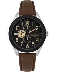 French Connection - Multi Functional Leather Strap Watch - Lyst