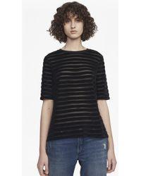 French Connection - Bernice Velvet Stripe Jersey T-shirt - Lyst