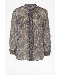 French Connection - Reptile Print Crinkle Georgette Shirt - Lyst