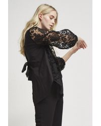French Connection - Chania Lace Puff Sleeve Shirt - Lyst