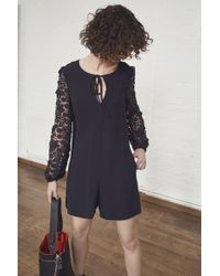 French Connection - Malaita Lace Tie Neck Playsuit - Lyst