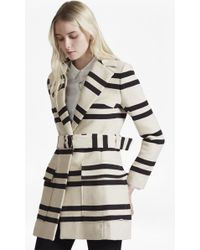 French Connection | Escher Stripe Belted Mac Coat | Lyst