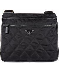 37108ea8b450 Lyst - Prada Folding Leather Crossbody Bag in Black