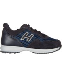 Hogan Boys Shoes Child Sneakers Suede Leather Interactive in Blue ... 8cbeab00595