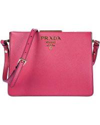 a4e0376ccd12 ... shopping prada leather cross body messenger shoulder bag lyst 52d04  177d2