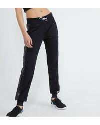 Pantalon jogging uni et métallisé Noir