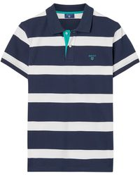 1e28a18d235a2 GANT - Contrast Collar Stripe Polo Shirt - Lyst