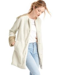 Gap - Cosy Sherpa Collarless Coat - Lyst
