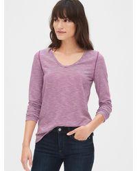 Gap Stripe Long Sleeve U-neck T-shirt - Purple