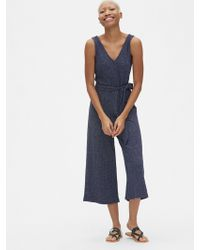f48bd89faf13 Gap - Sleeveless Ribbed Knit V-neck Jumpsuit - Lyst