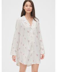 Gap Flannel Sleep Shirt - White