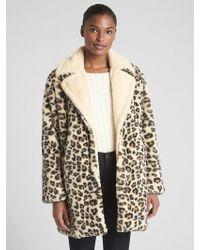 Gap - Leopard Faux-fur Coat - Lyst