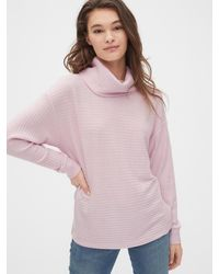 Gap Ribbed Funnel-neck Pullover Sweater - Purple