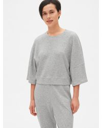 Gap - Double Knit Wide-sleeve Crop Pullover Sweatshirt - Lyst