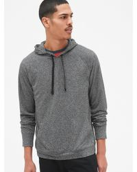 Gap Fit Brushed Tech Jersey Pullover Hoodie - Gray
