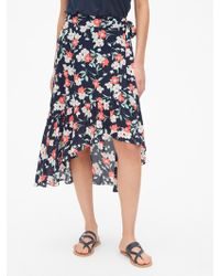 Gap Ruffle Wrap Midi Skirt - Blue