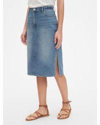b94f8cd393 Gap Side-zip Denim Pencil Skirt in Black - Lyst