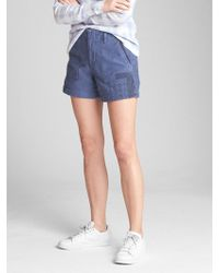 """Gap - High Rise 5"""" Utility Shorts With Patch Detail - Lyst"""