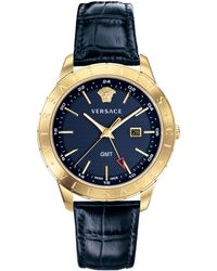 Versace - Classic Watch Navy/gold - Lyst