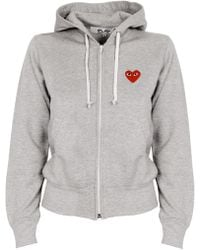 Play Comme des Garçons | Zip Up Cotton Hoodie With Red Emblem | Lyst