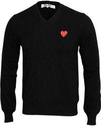 Play Comme des Garçons - Mens Red Logo V-neck Jumper Black - Lyst