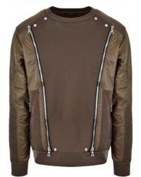 Balmain - Multi Zip Contrast Sweater Khaki - Lyst