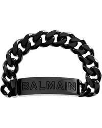 Balmain - Logo Chain Bracelet Black - Lyst