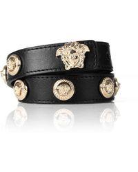 Versace | Leather Wrap Bracelet With Medusa Heads Black/light Gold | Lyst