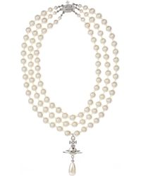Vivienne Westwood - Three Rows Pearl Necklace Rhodium/pearl - Lyst