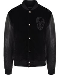 Alexander McQueen - Leather Sleeve Skull Bomber Black - Lyst