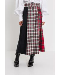 Isa Arfen - Tartan Poatchwork Skirt With Middle Buttons-line - Lyst