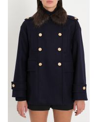 RED Valentino - Pea Coat In Naval Wool With Fur Collar - Lyst