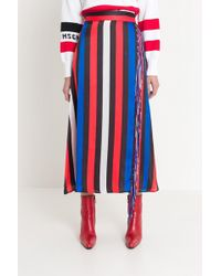 MSGM - Wrap Skirt With Stripes And Fringe - Lyst