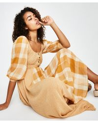 Free People - Old Friends Maxi Dress Gold - Lyst