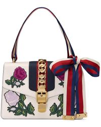 Gucci - White Embroidered Sylvie Small Shoulder Bag - Lyst